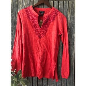 Lucky Brand Tops - LUCKY BRAND Long Sleeve Split Neck Embroidered Top